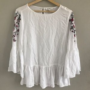 Beach Lunch Lounge Floral Embroidery Blouse